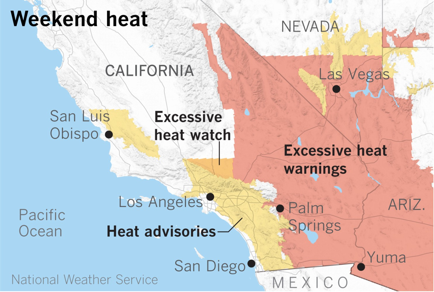 Excessive Heat Warnings Start Friday Ahead of a Toasty Weekend