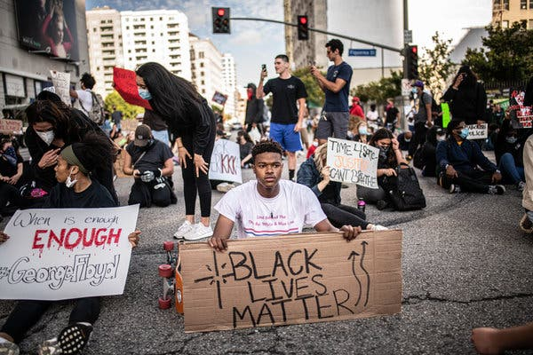 Protest in Downtown Los Angeles Over Recent Police Shootings