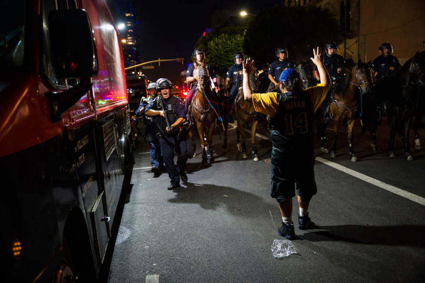 At least 76 arrested after Laker fans crowd into Downtown LA