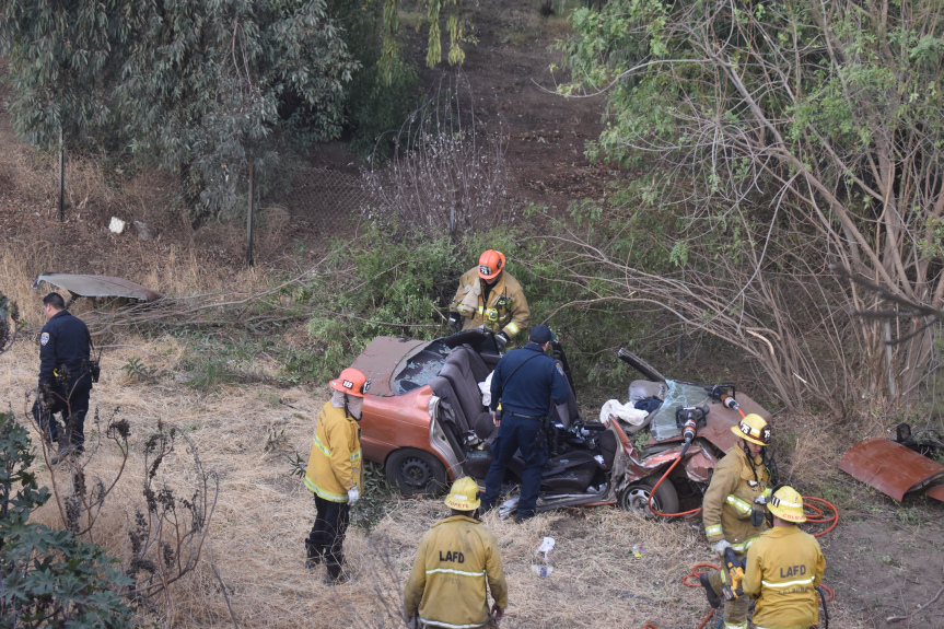 2 critical after car goes 100 feet down 210 Freeway embankment in Sylmar