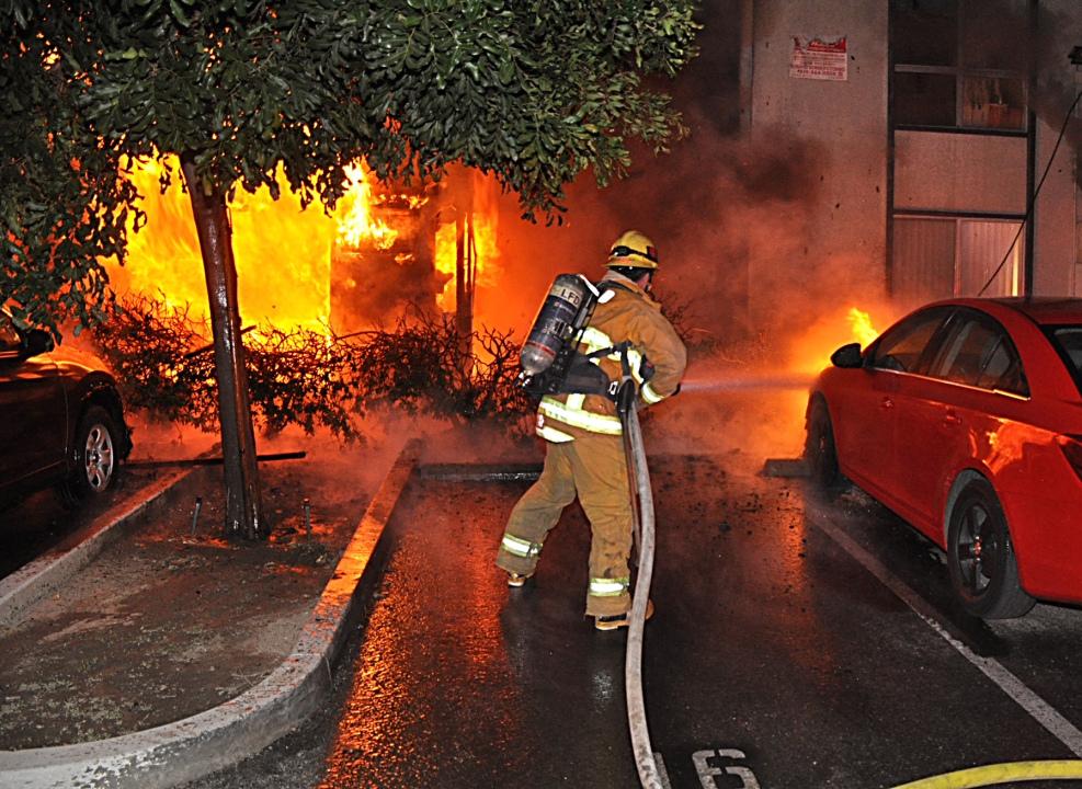 Heavy fire rips through Canoga Park apartment unit