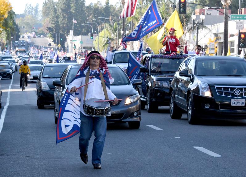 Trump caravan travels usual Rose Parade on Colorado Boulevard