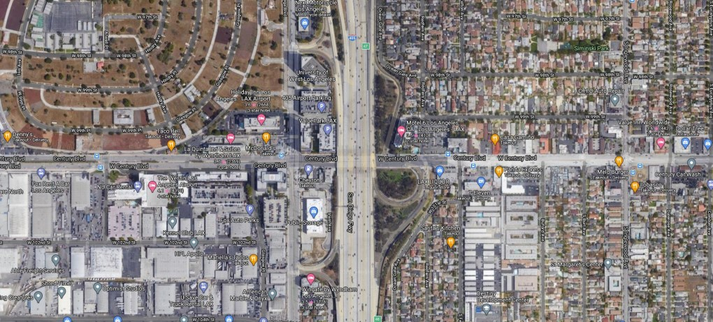 Person on foot is struck and killed on 405 collector road in Inglewood
