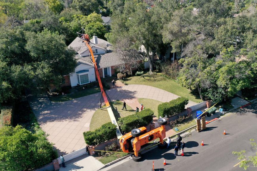 Crane for Netflix series falls on home near Pasadena