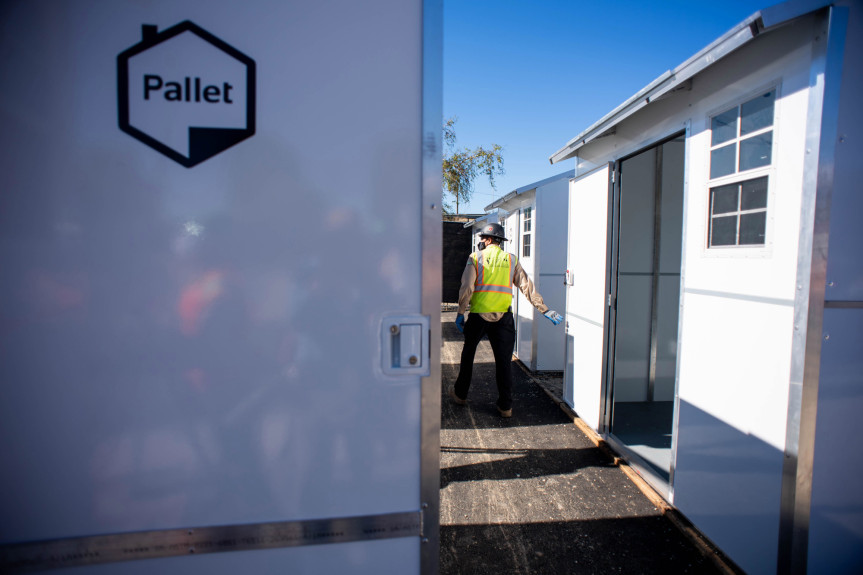 North Hollywood tiny homes community nears opening; activists protest at ceremony