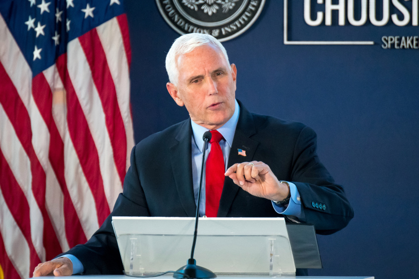 In land of Reagan, Mike Pence defends his Jan. 6 actions while lauding Trump's years in office