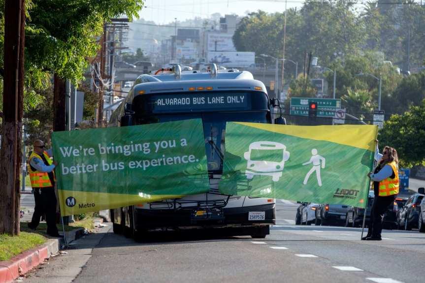 Metro's new dedicated bus lane expected to speed up service on Alvarado Street